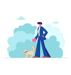 man walking with dog outdoors on summertime vector image