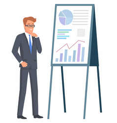 Manager and graph report company success vector