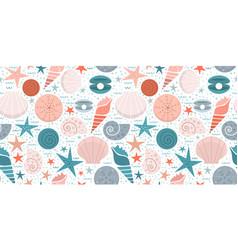 marine print with seashells vector image