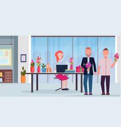Men congratulating businesswoman sitting workplace vector