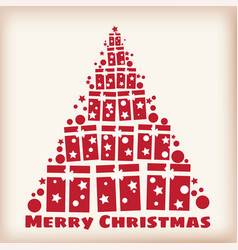 merry christmas spruce stylized from gifts vector image