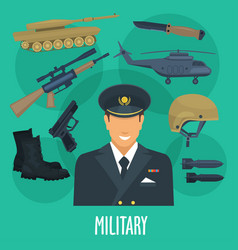 military man occupation machines and weapon vector image vector image
