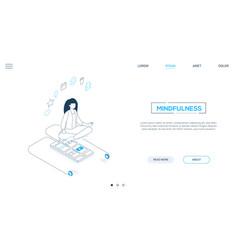 mindfulness - line design style isometric web vector image