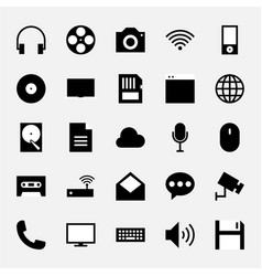 Multimedia icon set black and white vector