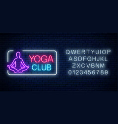 neon glowing sign yoga exercices club in vector image