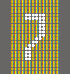 number seven with white circles on rainbow circles vector image