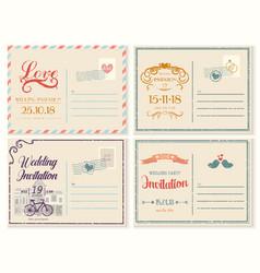 old or retrovintage wedding invitation empty card vector image