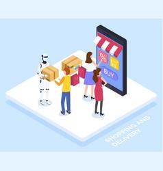people use online shopping robot deliver parcels vector image