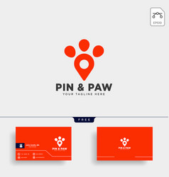 pin or location pet animal logo template icon vector image