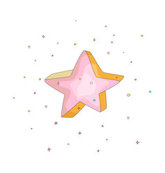 Pink cartoon funny star icon cartoon icon vector
