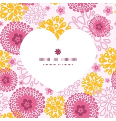 pink field flowers heart silhouette pattern frame vector image