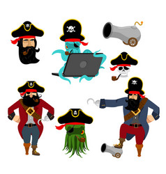 Pirate set characters web pirate octopus vector