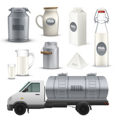 Product milk realistic set vector