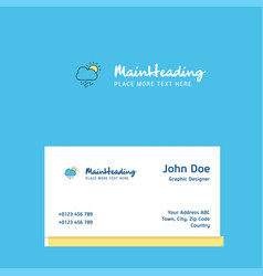 raining logo design with business card template vector image