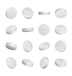Realistic medical pills isolated on white vector
