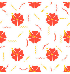 red hibiscus flower seamless pattern for use as vector image