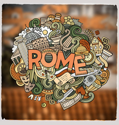 Rome hand lettering and doodles elements vector