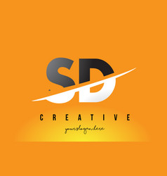Sd s d letter modern logo design with yellow vector