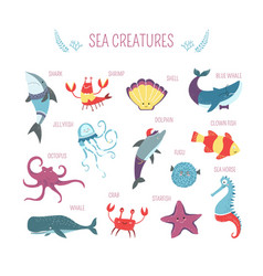 Sea fish and animals creatures cartoon vector
