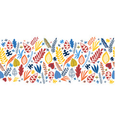 Seamless border abstract autumn leaves blue vector