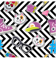 Seamless pattern with cap cat glasses thunder vector