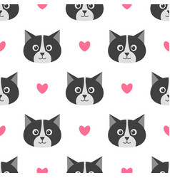 seamless pattern with cute cats and hearts vector image