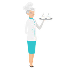 senior caucasian chef holding tray with cups vector image