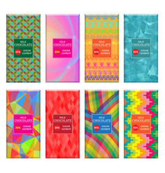 Set different milk chocolate bar isolated on vector