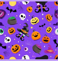 Set halloween elements seamless pattern vector