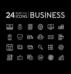 set line flat icons for business vector image