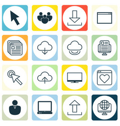 Set of 16 internet icons includes website vector