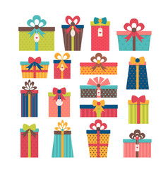 Set of different gift boxes flat design colorful vector