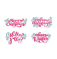 set text calligraphic lettering merry vector image