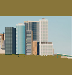 skyline with various size buildings city life vector image