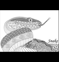 snake in zenart style black-and-white drawing vector image