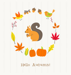 squirrel with autumn frame card vector image