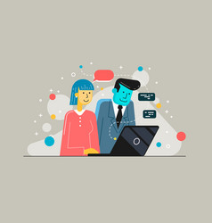 startup business partners working together in vector image