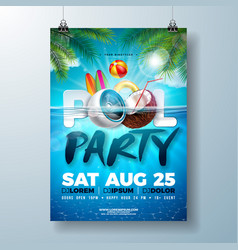 Summer pool party poster design template with palm vector