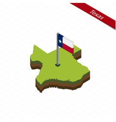 Texas isometric map and flag vector
