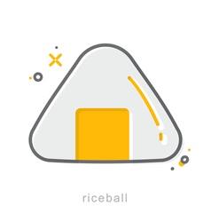 Thin line icons Riceball vector