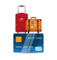 travel credit card baggage equipment vector image