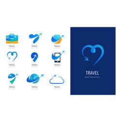 Travel tourism agency logo design icons vector