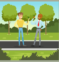 Two male friends or colleagues meeting in the park vector