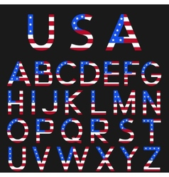 USA flag alphabet vector image