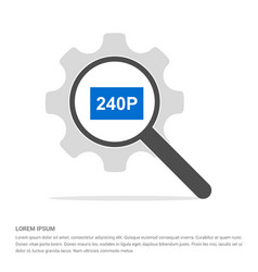Video resolution icon search glass with gear vector