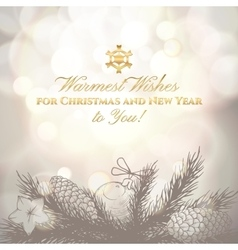 Vintage Christmas and New Year greeting card with vector image