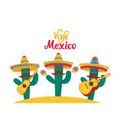 Viva mexico banner three funny cacti in sombrero vector