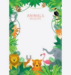 Wild animals in jungle frame vector