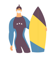 young strong man in diving full suit vector image