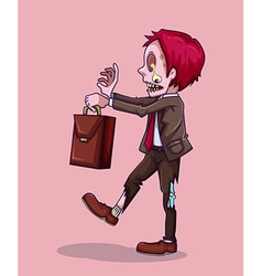 Zombie with briefcase walking vector